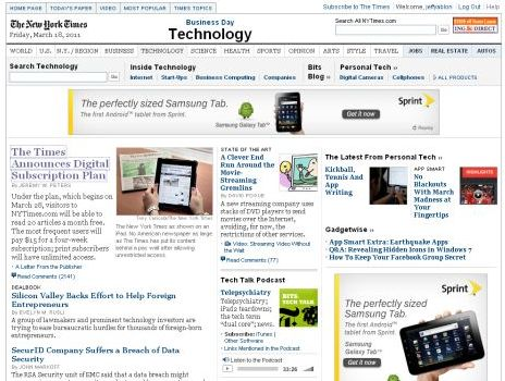 NY Times PayWall Is Top News In NY Times