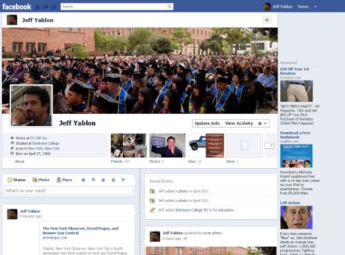 Facebook Timeline View Profile for Jeff Yablon