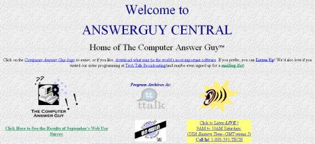 The Computer Answer Guy Website,  Straight HTML, 1998