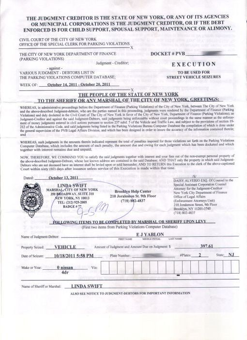 Court Order From NYC City Marshall Linda Swift Mayor Bloomberg.jpg