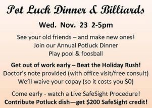 Pot Luck Dinners and Lasek Eye Surgery