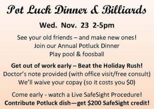 Pot Luck Dinners and Lasek Eye Surgery