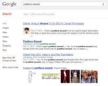Pantless Weasels and SEO Consultants
