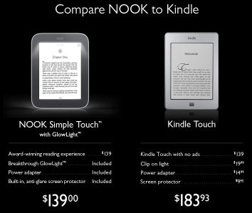 Nook and Kindle eReaders Compared