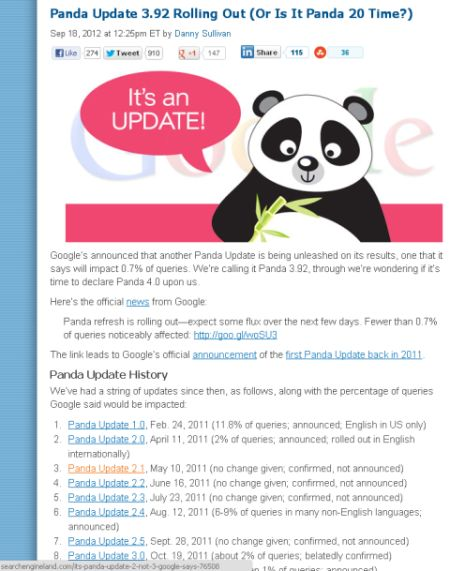 Google's Panda Search Engine Update History
