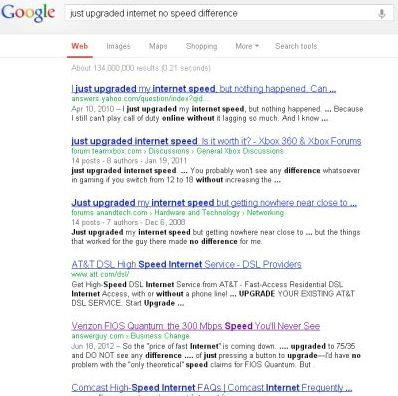 Google Search for 'Upgraded Internet Speed'