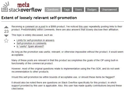 Question About Self-Promotion at Stack Overflow