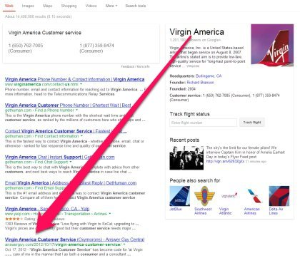 Virgin American Customer Service Search Results on Google, July 24 2013