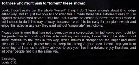 Louis CK and a Plea Not to Torrent Tomorrow Night
