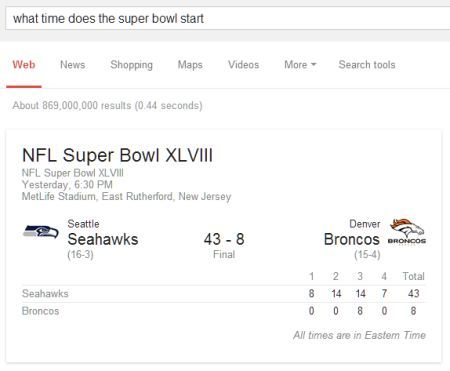 'What Time Does The Super Bowl Start' Google Search Query