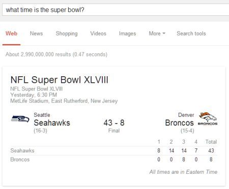 'What Time Is The Super Bowl?' Search Query