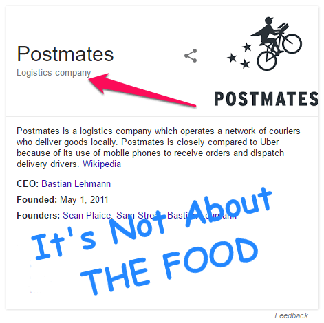 Postmates is not about the food
