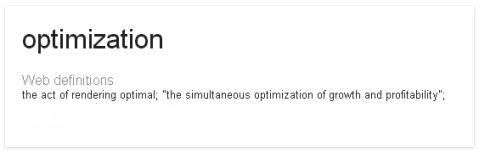 Google Defines Optimization